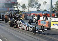 Jan. 16, 2013; Jupiter, FL, USA: NHRA top top fuel dragster driver Shawn Langdon during testing at the PRO Winter Warmup at Palm Beach International Raceway.  Mandatory Credit: Mark J. Rebilas-