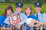 In training for The Carmel OConnor Memorial Shield between Kerry Garda and Cordal ladies football team. The game will be held in Cordal GAA pitch on July 21st in aid of the Castleisland Hospice Foundation. L-r: Joan Nolan, Garda Liz Twomey, Kay Reidy and Garda Emma Mullane..