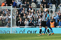 Jonjo Shelvey of Newcastle United punches the air at the final whistle during Newcastle United vs Arsenal, Premier League Football at St. James' Park on 15th April 2018