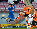 ::  HAMILTON'S TOMAS CERNY COLLECTS A CROSS AS DUNDEE UTD'S ANDIS SHALA MAKES THE CHALLENGE ::