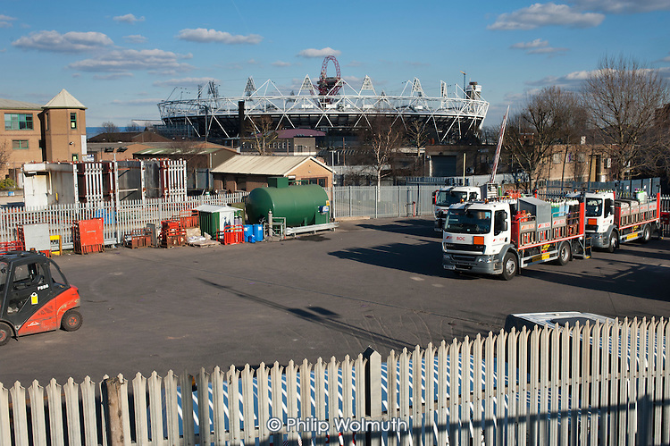 Vehicle depot in an industrial area adjacent to the London 2012 Olympic Stadium.
