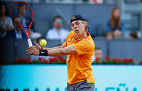 Denis Shapovalov of Canada plays a forehand against Felix Auger-Aliassime of Canada during day two of the Mutua Madrid Open at La Caja Magica on May 05, 2019 in Madrid, Spain. /NortePhoto.com
