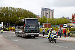 The Anderlecht team coach arrives with police escort before the UEFA Europa League Quarter Final 2nd Leg match at Old Trafford, Manchester. Picture date: April 20th, 2017. Pic credit should read: Matt McNulty/Sportimage