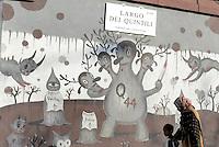 Roma, marzo 2015<br /> Murales nel quartiere popolare del Quadraro nella periferia sud est di Roma.<br /> Murales di Gary Baseman.