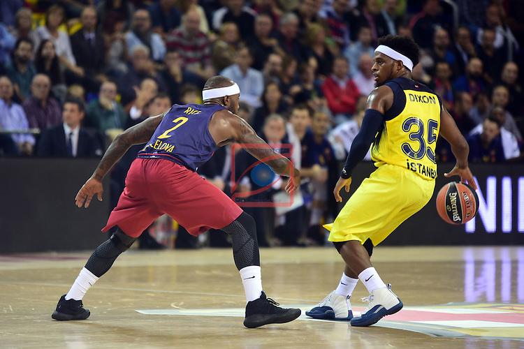 Turkish Airlines Euroleague 2016/2017.<br /> Regular Season - Round 2.<br /> FC Barcelona Lassa vs Fenerbahce Istanbul: 72-73.<br /> Tyrese Rice vs Bobby Dixon.