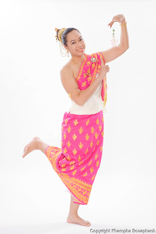 Magdalene Phanpiboul poses during the Lao New Year celebration at Wat Lao Thepnimith in Fort Worth on April 24, 2010.  (photo by Khampha Bouaphanh)