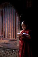 18th Century Shwe Yan Paya Pagoda and the oval shape Monastery, near Inle  Shan State, Myanmar