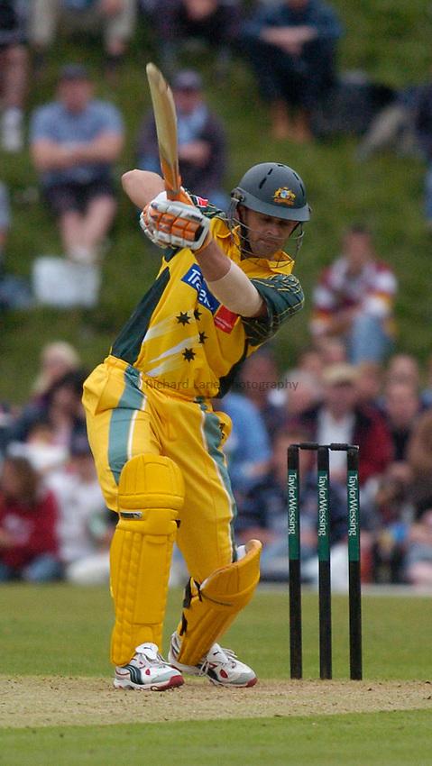 Photo: Alan Crowhurst..Masters XI v Australia, Arundel, 09/06/2005. Adam Gilchrist