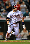 13 September 2008: Cleveland Indians' infielder Asdrubal Cabrera gets a base hit in the 9th inning against the Kansas City Royals at Progressive Field in Cleveland, Ohio. The Royals defeated the Indians 8-4 in the second game, sweeping their double-header...Mandatory Photo Credit: Ed Wolfstein Photo