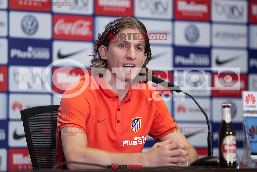 Atletico de Madrid's new Brazilian football player Filipe Luis Kasmirski attends a press conference during his presentation at Vicente Calderon stadium in Madrid, Spain. July 29, 2015. (ALTERPHOTOS/Victor Blanco) /NortePhoto