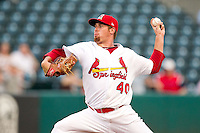 Anthony Ferrara (40) of the Springfield Cardinals delivers a pitch during a game against the Arkansas Travelers at Hammons Field on July 25, 2012 in Springfield, Missouri. (David Welker/Four Seam Images)