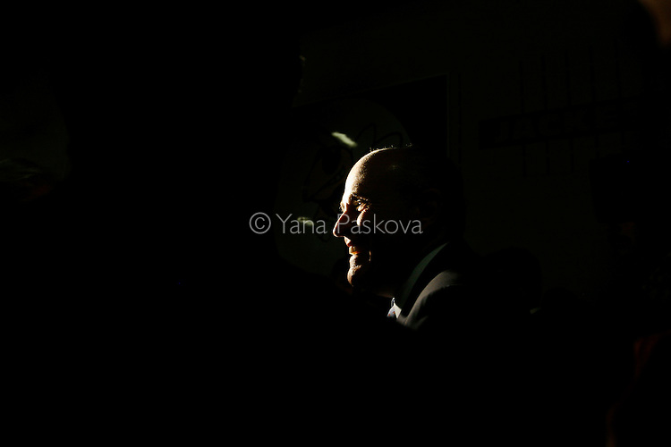 Republican Presidential hopeful Rudy Giuliani (R-NY) smiles after speaking at the Woodrow Wilson Junior High School gymnasium in Council Bluffs, Iowa, on July 18, 2007.