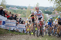 Koppenbergcross 2013<br /> <br /> British Champion Ian Field (GBR) leading the peloton up the Koppenberg in the first lap