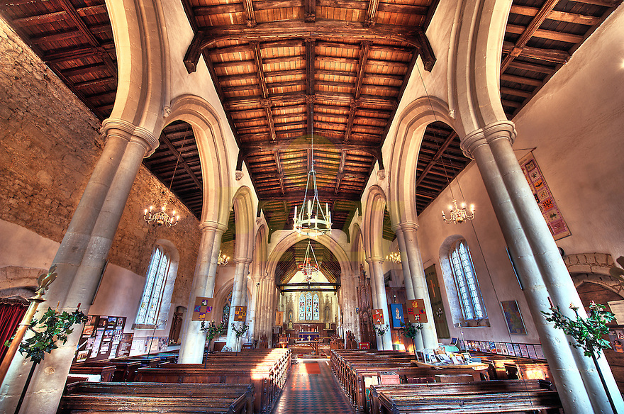 Artistic, Symmetrical HDR Photograph of St. Mary's Church, Harlington, Bedfordshire.