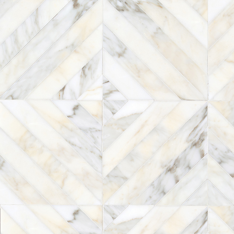 Lars, a hand-cut stone mosaic, show in polished Calacatta Gold, is part of the Semplice™ collection for New Ravenna.