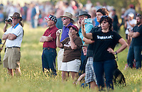 NWA Democrat-Gazette/BEN GOFF @NWABENGOFF<br /> Spectators watch battle action unfold on Friday Sept. 25, 2015 during the Battle of Pea Ridge Civil War reenactment at Webb Farm near Pea Ridge. The event continues with battle reenactments at 2:00p.m. on Saturday and at 11:00a.m. Sunday.