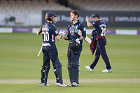 John Simpson of Middlesex CCC congratulates James Harris on his maiden one day century during Middlesex vs Lancashire, Royal London One-Day Cup Cricket at Lord's Cricket Ground on 10th May 2019