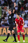 Han Kwang Song of North Korea (R) gets a red card from FIFA Referee Peter Green of Australia (L) during the AFC Asian Cup UAE 2019 Group C match between Saudi Arabia (KSA) and North Korea (PRK) at Rashid Stadium on 08 January 2019 in Dubai, United Arab Emirates. Photo by Marcio Rodrigo Machado / Power Sport Images