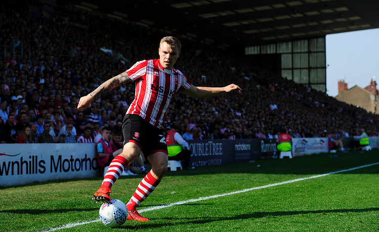 Lincoln City's Harry Anderson<br /> <br /> Photographer Chris Vaughan/CameraSport<br /> <br /> The EFL Sky Bet League Two - Lincoln City v Tranmere Rovers - Monday 22nd April 2019 - Sincil Bank - Lincoln<br /> <br /> World Copyright © 2019 CameraSport. All rights reserved. 43 Linden Ave. Countesthorpe. Leicester. England. LE8 5PG - Tel: +44 (0) 116 277 4147 - admin@camerasport.com - www.camerasport.com
