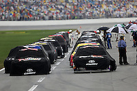 Rain delay, Daytona 500, Daytona INternational Speedway, February 23, 2014. (Photo by Brian Cleary/www.bcpix.com)