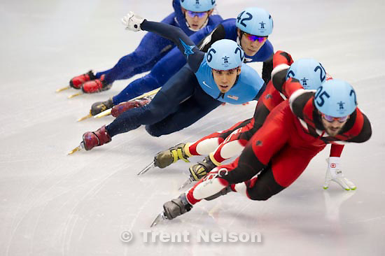 Trent Nelson  |  The Salt Lake Tribune.Mens' 1000m Final, Short Track Speed Skating, at the XXI Olympic Winter Games in Vancouver, Saturday, February 20, 2010. Lee Jung-Su 243 gold medal korea, Lee Ho-Suk 242 silver medal korea, Apolo Anton Ohno 245 bronze medal usa, Charles Hamelin 205, Francois Hamelin 206