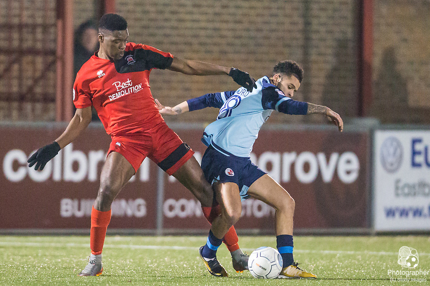 Shaun Okojie (Eastbourne) & Billy Clifford (Crawley) during Parafix Sussex Senior Cup Quarter Final between Eastbourne Borough FC & Crawley Town FC on Tuesday 09 January 2018 at Priory Lane. Photo by Jane Stokes (DJ Stotty Images)