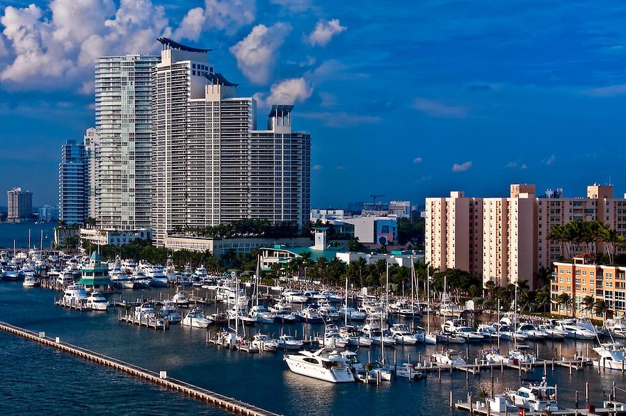 View of Marina in Miami Beach, Florida.