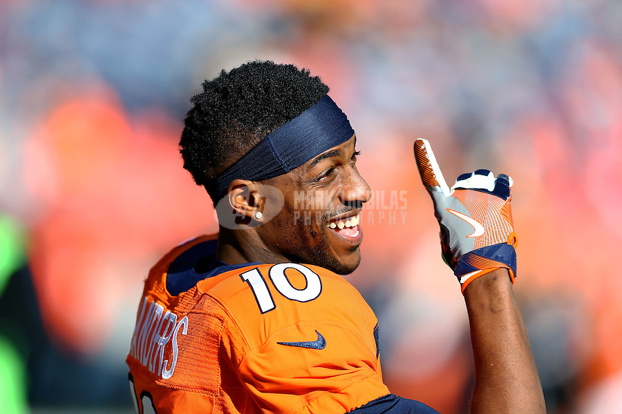 Jan 17, 2016; Denver, CO, USA; Denver Broncos wide receiver Emmanuel Sanders (10) reacts against the Pittsburgh Steelers during the AFC Divisional round playoff game at Sports Authority Field at Mile High. Mandatory Credit: Mark J. Rebilas-USA TODAY Sports