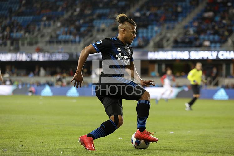 San Jose, CA - Saturday May 19, 2018: Quincy Amarikwa during a Major League Soccer (MLS) match between the San Jose Earthquakes and D.C. United at Avaya Stadium.