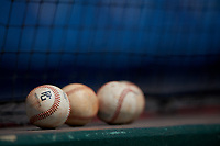 Baseballs on top of the dugout during the Perfect Game National Showcase at Hoover Metropolitan Stadium on June 18, 2020 in Hoover, Alabama. (Mike Janes/Four Seam Images)