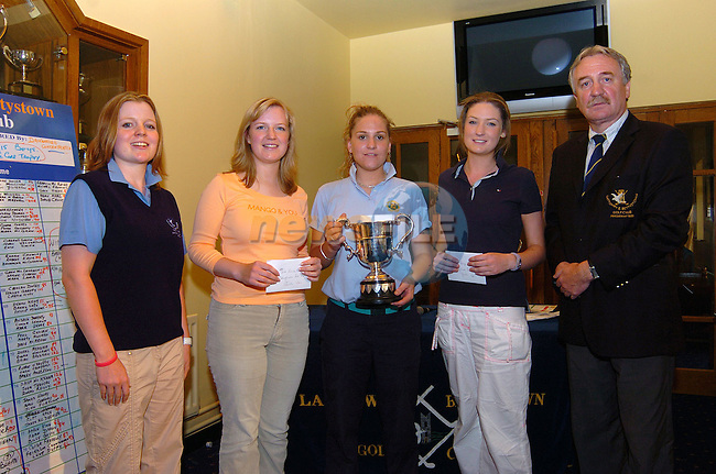 Junior Lady Captain of Laytown and Bettystown golf club Lauren Mc Bride Fields with the winners in the Girls U-21 Drogheda Independent trophy, 2nd place Vivienne Brannigan (L&B club), 1st place Dearbhla Behan (Balbriggan) 3rd place Sally Rooney (L&B club) and Club President Joe Cremin, at the Drogheda Concentrates sponsored event. Photo: Colin Bell / Newsfile.(Photo credit should read Colin Bell/NEWSFILE)...This Picture has been sent you under the condtions enclosed by:.Newsfile Ltd..the Studio,.Millmount Abbey,.Drogheda,.Co Meath..Ireland..Tel: +353(0)41-9871240.Fax: +353(0)41-9871260.GSM: +353(0)86-2500958.email: pictures@newsfile.ie.www.newsfile.ie.FTP: 193.120.102.198..This picture is from Fran Caffrey@newsfile.ie