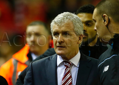 26.01.2016. Anfield, Liverpool, England. Capital One Cup Semi Final 2nd Leg. Liverpool versus Stoke. stoke City boss Mark Hughes before the game.