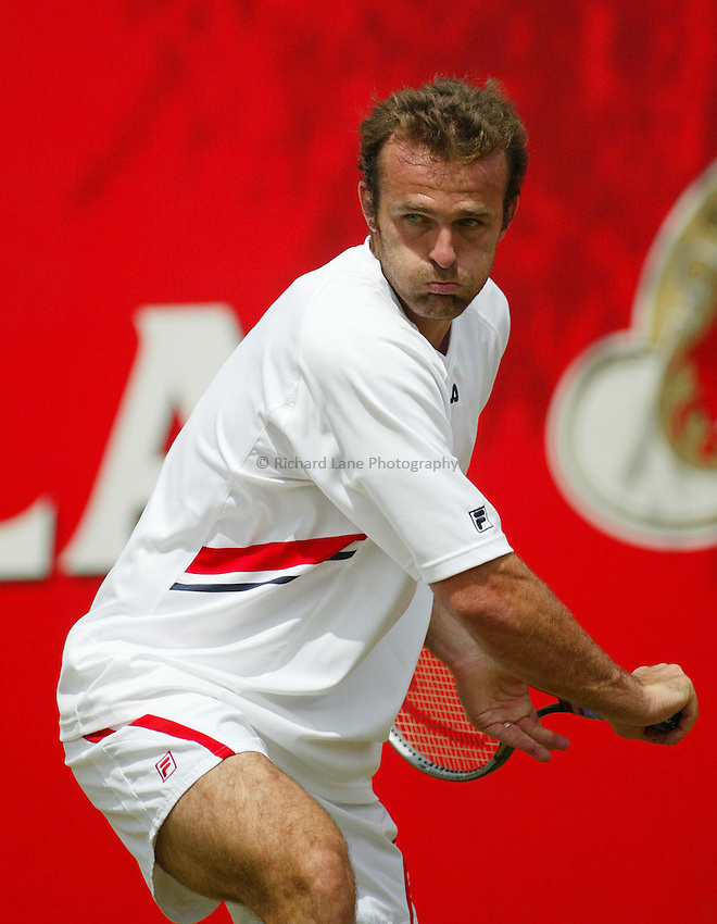 Photograph: Scott Heavey..Day 3 of the Stella Artois Championship at the Queens Club. 11/06/2003..Anthony Dupuis