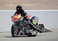 Mar. 31, 2012; Las Vegas, NV, USA: NHRA top fuel Harley motorcycle rider Steve Drane during qualifying for the Summitracing.com Nationals at The Strip in Las Vegas. Mandatory Credit: Mark J. Rebilas-