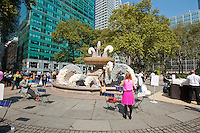 "As part of ""Wool Uncovered"" the fountain in Bryant Park in New York is decorated in a wool sculpture, on Thursday, September 27, 2012. The sheep and the accompanying installation are part of the ""Campaign for Wool"", a promotional event by the British wool industry to promote wool as a sustainable and natural product and to educate about the benefits of sheep farming. (© Richard B. Levine)"