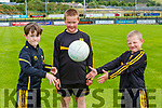 Ayrton McGough, Samuel and Dominik Cugumovs getting into football mode at Dr Crokes