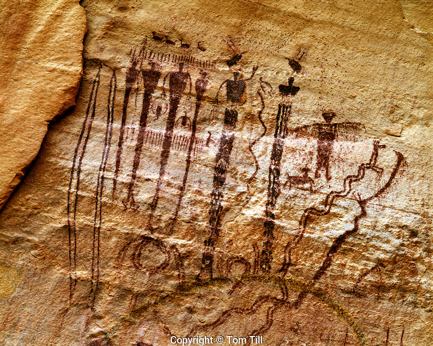 Pictographs in Buckhorn Wash, San Rafael Swell, Utah, Barrier Canyon style ancient rock art, afternoon