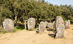 Neolothic stone circle of granite boulders,   Cromeleque dos Almendres, Evora district, Alentejo, Portugal, southern Europe