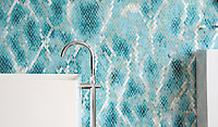 Waterweb, a hand-cut glass mosaic shown in Tanzanite, Chrysocolla, Alexandrite, Feldspar, Aquamarine, Absolute White, Opal, Moonstone, Serpentine, Turquoise, and Amazonite Sea Glass&trade;, is part of the Broad Street&trade; collection.<br />