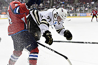 HERSHEY, PA - DECEMBER 01: Hershey Bears defenseman Aaron Ness (27) hits Springfield Thunderbirds forward Jayce Hawryluk (8) against the end boards during the Springfield Thunderbirds at Hershey Bears on December 1, 2018 at the Giant Center in Hershey, PA. (Photo by Randy Litzinger/Icon Sportswire)