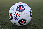 24 August 2013: NASL match ball featuring the signature of commissioner Bill Peterson. The Carolina RailHawks played the Minnesota United FC Loons at WakeMed Stadium in Cary, NC in a 2013 North American Soccer League Fall Season game. Carolina won 1-0.
