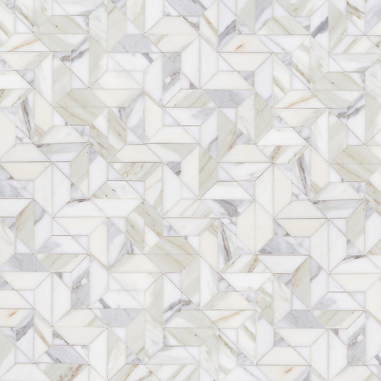Zachary, a hand-cut stone mosaic, show in polished Calacatta Gold.
