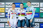 Kristina Vogel of Germany celebrates winning the Women's Keirin's prize ceremony with Martha Bayona Pineda (l) of Colombia and Nicky Degrendele of Belgium during the 2017 UCI Track Cycling World Championships on 16 April 2017, in Hong Kong Velodrome, Hong Kong, China. Photo by Marcio Rodrigo Machado / Power Sport Images
