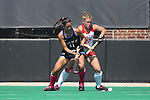 02 October 2016: Duke's Caroline Andretta (11) and Boston's Ally Hammel (20). The Duke University Blue Devils hosted the Boston University Terriers at Jack Katz Stadium in Durham, North Carolina in a 2016 NCAA Division I Field Hockey match. Duke won the game 2-1.