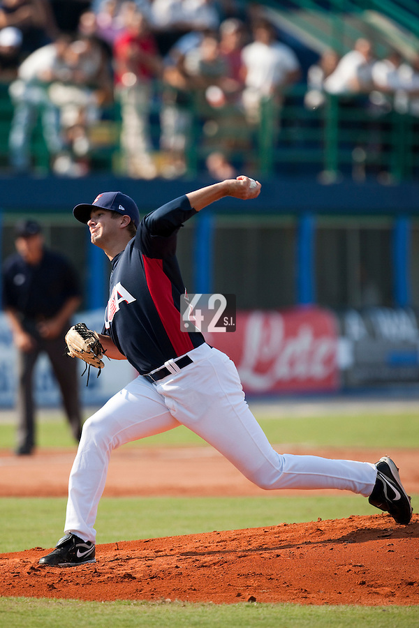 27 September 2009: Cory Luebke of Team USA pitches against Cuba during the 2009 Baseball World Cup gold medal game won 10-5 by Team USA over Cuba, in Nettuno, Italy.