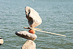 California; Sausalito; rock balance artist; Bill Dan; waterfront; sculptor; sculpture, USA.  Photo copyright Lee Foster.  Photo # california107980