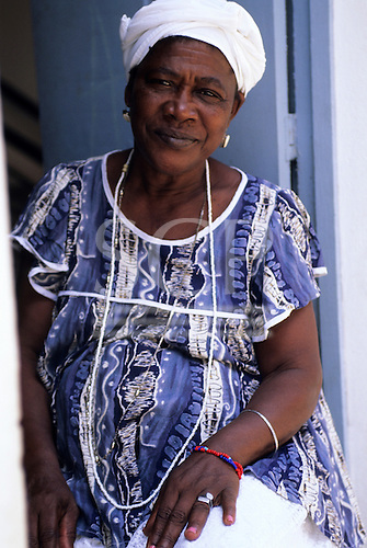 Cachoeira, Bahia, Brazil. A woman from the Order of the Good Dead. Priestess of the Candomble religion in traditional dress.