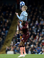 Manchester City's Leroy Sane vies for possession with  1899 Hoffenheim's Joshua Brenet <br /> <br /> Photographer Rich Linley/CameraSport<br /> <br /> UEFA Champions League Group F - Manchester City v TSG 1899 Hoffenheim - Wednesday 12th December 2018 - The Etihad - Manchester<br />  <br /> World Copyright © 2018 CameraSport. All rights reserved. 43 Linden Ave. Countesthorpe. Leicester. England. LE8 5PG - Tel: +44 (0) 116 277 4147 - admin@camerasport.com - www.camerasport.com