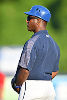 Asheville Tourists hitting coach Paco Martin (7) during a game against the Lakewood BlueClaws at McCormick Field on August 6, 2019 in Asheville, North Carolina. The Tourists defeated the BlueClaws 5-2. (Tony Farlow/Four Seam Images)