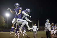 NWA Democrat-Gazette/CHARLIE KAIJO Fayetteville High School wide receiver Cody Gray (1) celebrates following a score during a playoff football game on Friday, November 10, 2017 at Fayetteville High School in Fayetteville.